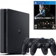 Конзола PlayStation 4 Slim, 500GB, Два геймпада, Черна + Игра Mortal Kombat XL PS4