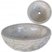 vidaXL Умивалник, мрамор, 40 см, кремав