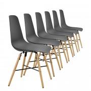 [en.casa]® Елегантен стол Honolulu комплект от 6 броя, дървени крака 85.5 x 46 cm Сив