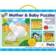 Set 4 puzzle-uri Mama si puiul - Animale domestice