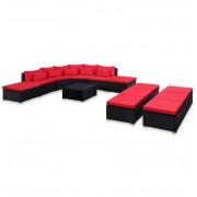 Set mobilier de grădină cu perne, 9 piese, roșu, poliratan