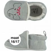 Apollo Geboorte kado meisjes baby slofjes met olifantje maat 16/17
