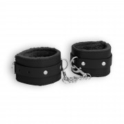 ESPOSAS OUCH! PLUSH LEATHER WRIST CUFFS NEGRAS