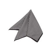 【50%OFF】シルク ハウンドトゥース柄 配色トリム チーフ ブラック 000 ファッション > ファッション小物~~スカーフ