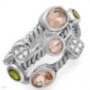 Дамски сребърен пръстен с естествени кристали и циркон