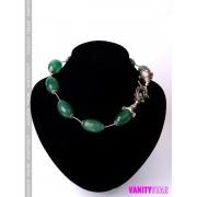 Collier in agata verde e argento