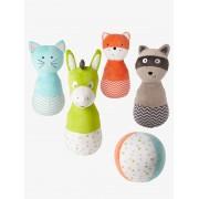 VERTBAUDET Jogo de bowling em peluche, o gato e os seus amigos verde medio liso com motivo