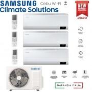 Samsung Climatizzatore Condizionatore Samsung Inverter Trial Split Cebu Wi-Fi 9000+9000+12000 Con Aj068txj R-32 Classe A++ Wifi - New 2020 9+9+12