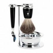 Set de barbierit cu aparat de ras compatibil Gillette Fusion si pamatuf Pure Badger cu par de bursuc si maner de rasina