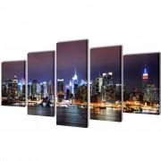 vidaXL Canvas Wall Print Set Colourful New York Skyline 200 x 100 cm