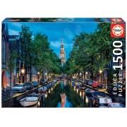 Puzzle Genuine Canal în Amsterdam în amurg Educa 1500 de piese 16767