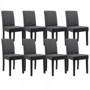 [en.casa]® 8 x sillas tapizadas (gris oscuro) (alta calidad) con patas de madera maciza / piel sintética / elegante / Set ahorro