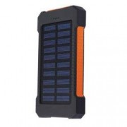 Set Acumulator Extern 10000 mAh cu Panou Solar 2 USB Lanterna LED cu Mod SOS Negru-Portocaliu si Casti Centenar