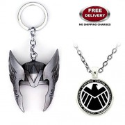 2 Pc AVENGER SET - THOR HELMET / CROWN SILVER COLOUR IMPORTED METAL KEYCHAIN & AVENGER SHIELD LOGO 3D GLASS DOME METAL PENDANT WITH CHAIN ❤ LATEST ARRIVALS - RINGS, KEYCHAINS, BRACELET & T SHIRT - CAPTAIN AMERICA - AVENGERS - MARVEL - SHIELD - IRONMAN - H