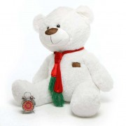White 5 Feet Special Christmas Teddy Bear with tie muffler