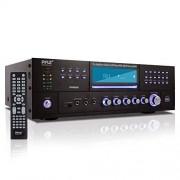 Pyle PD3000BT Preamplificador Bluetooth de 4 Canales para Cine en casa, Altavoz estéreo de 3000 W, Receptor de Audio para el hogar, preamplificador con Radio, USB, 2 micrófonos, Reproductor de DVD