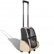 vidaXL Béžový skladací viacúčelový vozík pre domácich miláčikov