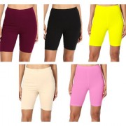 Jakqo Women's Cotton Bio-Wash Shorties (Free Size Pack of 5 Maroon Black Light Yellow Tan Baby Pink)