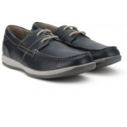 Clarks Fallston Style Navy Leather Loafers For Men(Navy)
