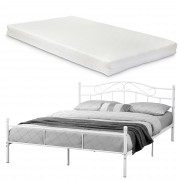 [en.casa]® Franciaágy Split hideghab matrac 160 x 200 cm fémkeretes vintage ágykeret design ágy fehér