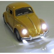 Berry President® Classic 1967 Volkswagen Vw Classic Beetle Bug Vintage 1/32 Scale Diecast Metal Pull Back Car Model Toy For Gift/Kids (Yellow)