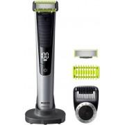 Aparat de tuns barba Philips OneBlade Pro QP6620/20, Pieptene 14 lungimi, 2 lamele, Afisaj LED (Negru/Argintiu)