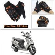 AutoStark Gloves KTM Bike Riding Gloves Orange and Black Riding Gloves Free Size For Hero Maestro Edge