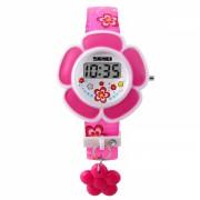 Ceas Skmei 1144 pentru copii in forma de floare cu data si calendar complet, roz