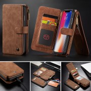 CASEME 007 Series Detachable 2-in-1 Zipper Wallet Split Leather Mobile Phone Shell for iPhone XS Max 6.5 inch - Brown