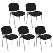 Hjh Lote 5 sillas de confidente MOBY BASE en negro y patas gris