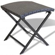 vidaXL Сгъваем стол, поли ратан, черен
