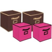 Billion Designer Non Woven 4 Pieces Small & Large Foldable Storage Organiser Cubes/Boxes (Coffee & Pink) - CTKTC35343 CTKTC035343(Coffee & Pink)