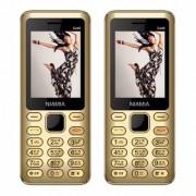 Niamia CAD 2 Gold Basic Keypad Feature Mobile Phone Combo