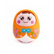 Playking Push and Shake Wobbling Roly Poly Tumbler Doll with Soft and Sweet Bell Sounds, Orange
