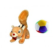 JRP Mart Beige Squirrel Soft Toy and Little Ball