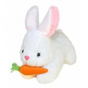 Rabbit with Carrot Stuffed Soft Plush Toy White (26 cm)