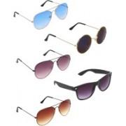 Zyaden Aviator, Aviator, Aviator, Wayfarer, Round Sunglasses(Blue, Violet, Brown, Blue, Black)
