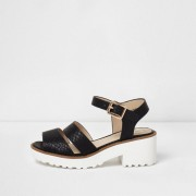 River Island Girls Black croc embossed chunky sandals (Size 3)