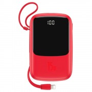 Baterie Externa Baseus, Q Pow 10000 mAh, 2 x USB/USB-C, Cablu Lightning Integrat, Rosie
