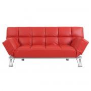 Sofá cama de piel 3 plazas color rojo MANHATTAN - Miliboo