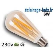 Ampoule Led cob E27 vintage Edison 6w