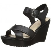Clarks Women's Scent Sky Black Leather Fashion Sandals - 7 UK/India (41 EU)