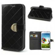 Калъф от лъскава кожа с магнитна закопчалка за Samsung Galaxy S4 I9500 I9502 - черен