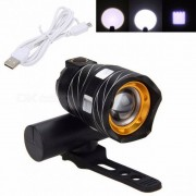 VASTFIRE 300LM Zoomable XM-L T6 LED USB Rechargeable Bicycle Light, Bike Front Lamp Torch Headlight with Built-in Battery Black