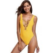Shekini La Mujer Monokini de una Pieza de baño Traje de baño Bikini Beach(XL,Amarillo)