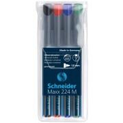 Universal permanent marker SCHNEIDER Maxx 224 M, varf 1mm, 4 culori/set
