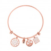 CO88 Armband Bangle 'Bloem/Klaver/Zonnebloem' staal/rosé, one-size 8CB-16008