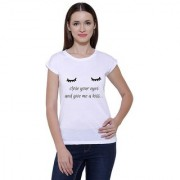 Snoby White Round Neck Cotton Blend Eyes & Some Quote Printed T-Shirt