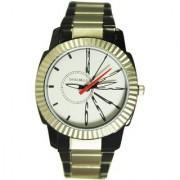 Svviss Bells Men's White Black & Steel Round Dial Analog Metal Strap Wrist Watch