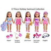 Ebuddy 17 Piece Hawaii Holiday Doll Swim Accessories-18 inch Doll Clothes Accessories Set Fits American Girl, Our Generation, Journey Girls